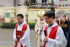 Catholic clergy. Catholic church priest ordained ceremony held, amoy city, china royalty free stock photos