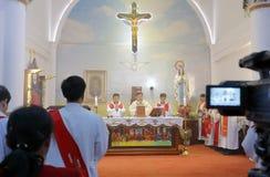Catholic clergy ordained ceremony. Catholic church priest ordained ceremony held in amoy city, china stock image