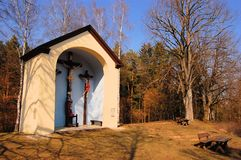 Catholic country chapel in a forest. Oversized catholic christian country chapel in a forest, Germany Royalty Free Stock Photos