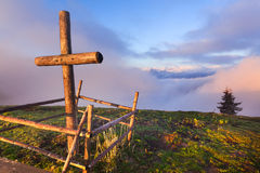 Catholic cross. On a mountaintop Stock Images