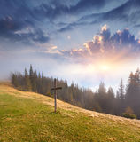 Catholic cross. On a mountaintop Stock Photography
