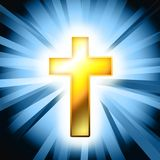 Catholic cross background. Gold catholic cross on blue background vector illustration