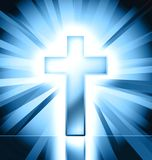 Catholic cross background. Blue catholic cross on blue background Stock Photo