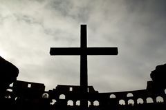 Catholic Cross in the Colosseum in Rome Royalty Free Stock Images