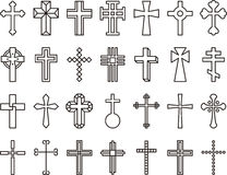 Catholic cross icons. A monochrome set of different Catholic cross icons Stock Photography