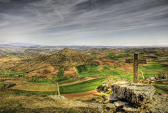 Catholic cross in the mountain. A catholic cross in Guadalajara Spain Royalty Free Stock Photo