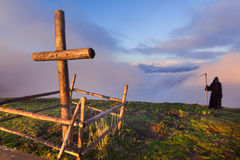 Catholic cross on a mountaintop Royalty Free Stock Photo