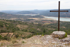 Catholic cross over Alcarria landscape Stock Images