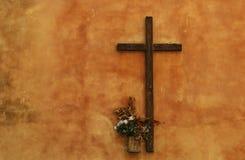 Catholic cross on the wall Stock Image