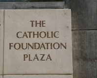 The Catholic Foundation Plaza. The Catholic Foundation promotes compassionate charitable giving and stewardship that serves donors and the needs of our community Royalty Free Stock Photos