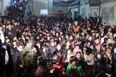 The catholic gather together. The catholics happily spend christmas eve at church, amoy city, china. they are orderly stock image