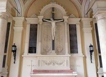 Catholic graves tombstones with cross. Mirogoj cemetery in Zagreb, Croatia Royalty Free Stock Image