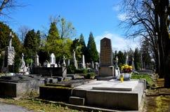 Catholic graves tombstones with cross Mirogoj Cemetery and Park Zagreb Croatia Stock Photos