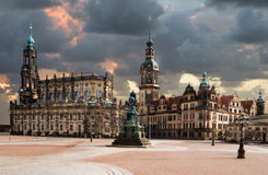 Catholic Hofkirche in Dresden. View from Theaterplatz on Catholic Hofkirche, also known as Cathedral of Holy Trinity in Dresden Stock Image