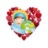 Catholic love design. Cartoon virgin mary hugging a earth planet over white background. catholic love design. vector illustration stock illustration