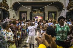People in church celebrating, Salvador, Bahia, Brazil royalty free stock photography