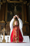 Consecration during catholic mass Stock Photo