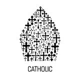 Catholic mitre hat shape emblem with cross icons Royalty Free Stock Photography
