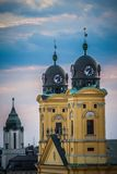 Catholic Monastery. Side view of the majestic church with the towers Royalty Free Stock Photos