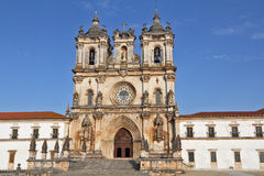 Catholic monastery  in  Alkobasa. Catholic monastery and cathedral in the small city of Alkobasa. Facade ornaments. Portugal Royalty Free Stock Images