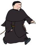 Catholic monk. Angry catholic monk walking purposefully stock illustration
