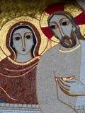 Catholic mosaic  in Lourdes in France. Catholic mosaic on the  Basilica of the Rosary in Lourdes Stock Image