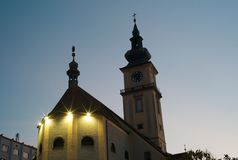 The Catholic Parish Church of Linz in the Evening stock photo