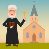 Catholic pastor or priest with cross. Royalty Free Stock Photos