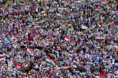 Catholic pilgrimage. CSIKSOMLYO, ROMANIA - JUNE 7: Crowds of Hungarian pilgrims gather to celebrate the Pentecost and the catholic pilgrimage on June 7, 2014 in royalty free stock photo