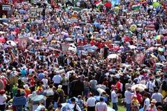Catholic pilgrims celebrating the Pentecost Royalty Free Stock Images