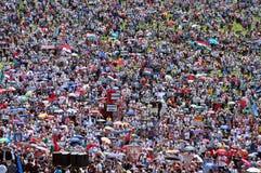 Catholic pilgrims celebrating the Pentecost in Europe Royalty Free Stock Photo