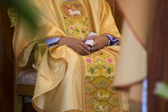 The catholic priest. In Thailand royalty free stock images