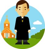 Catholic priest on church background in flat style Royalty Free Stock Image