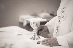 Catholic priest in church wedding marriage ceremony Stock Photos
