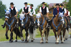 Catholic procession on horse Stock Image