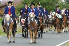 Catholic procession on horse Royalty Free Stock Photo