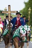 Catholic procession on horse Stock Image