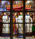 Catholic Procession - Stained Glass. Stained glass window depicting a Catholic Procession in the cathedral of Brussels, Belgium Royalty Free Stock Photos
