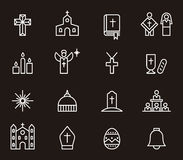 Catholic religion icons. Set of icons for the Catholic Church outlined in white on black background Royalty Free Stock Photo