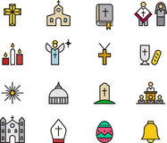 Catholic religion icons. A set of icons related to the Catholic religion Stock Photo