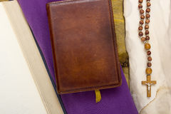 Catholic religious books and accessories Royalty Free Stock Photos