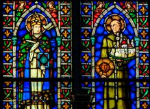 Catholic Saints - Stained Glass in Santa Croce, Italy Royalty Free Stock Image