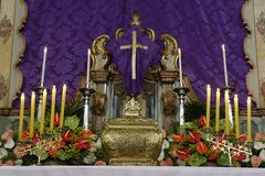 Catholic symbol Holy sacrament with holy communion. A symbol of Catholic devotion, exposed in church on the altar during adoration of the Blessed Sacrament Stock Photo