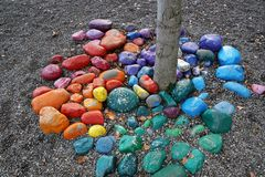 Trail jacobus in neuhausen an der donau in germany. A catholic trail in neuhausen at danube in south germany close to tuttlingen in Europe with colorfule stones Stock Photos