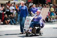 Catholic woman at Seattle Pride Parade Royalty Free Stock Photography
