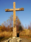 Catholic wooden cross in autumn landscape Royalty Free Stock Photo
