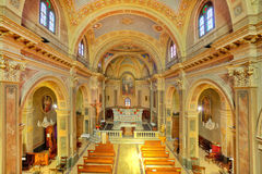 Catholich church interior view. Royalty Free Stock Photo