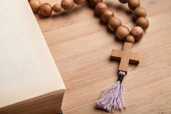 Catholicism. Cross speaking pray passion christian bead stock photos