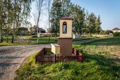 Catholicism in Poland. Wayside chapel of village in Pomorskie Region, Poland stock photos