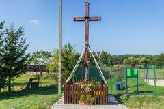 Catholicism in Poland. Wayside shrine in Rzepiczna village in Kujawy-Pomerania Province of Poland stock image